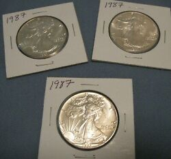 Lot Of 3 1987 American Silver Eagle Coin 1 Oz Us 1 Dollar Uncirculated K001