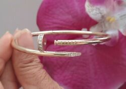 14k Gold Nail Bangle Solid Yellow Gold With Vs1 .51ct Diamonds High Quality