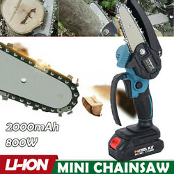 Mini Chainsaw 4andlsquoandrsquo Cordless Electric Protable Woodworking Chainsaw Li-ion Battery
