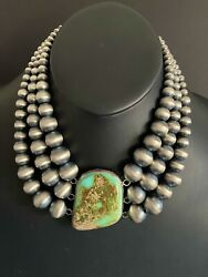 Navajo Sterling Silver Royston Turquoise Bead Necklace. 18 Inch
