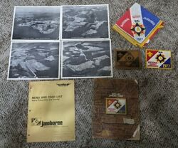 Vintage Boy Scout Lot 1970s 1977 Jamboree Newspapers, Signed Scarf, Patches, Etc