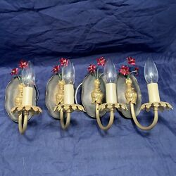 Four 4 Antique Brass Sconces Newly Wired Great Rare Wall Fixtures 54d