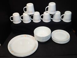 Lot 29 Piece Set Apricot Grove Corelle Corning Ware Dishes Peach Gray Leaves