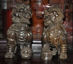 10.8chinese Agarwood Wood Carved Lucky Wealth Animal Lion Foo Dog Statue Pair