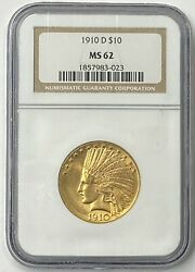1910-d 10 Indian Head Pre-33 Gold Eagle Ngc Ms62 Flashy Surfaces Old Holder