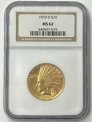 1910-d 10 Indian Head Pre-33 Gold Eagle Ngc Ms62 Old Holder Beauty.
