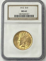 1912-p 10 Indian Head Pre-33 Gold Eagle Ngc Ms62 Low Mintage Of Only 405,000