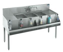 Krowne Metal 3 Compartment Bar Sink 19d W/ Two 24 Drainboards Stainless