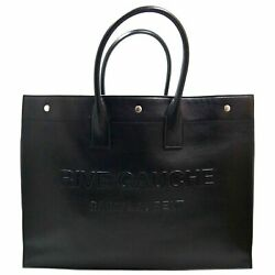 Saint Laurent Black Large Tote In Smooth Leather
