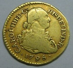 1795 Colombia 1 Escudo Popayan Charles Iv Spain Doubloon Colonial Era Gold