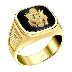 Us Jewels Men's 14k Yellow Gold Us Army Military Ring Band