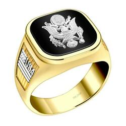 Us Jewels Men's 14k Two Tone Yellow And White Gold Us Army Military Ring Band