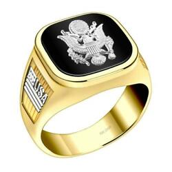 Us Jewels Menand039s 14k Two Tone Yellow And White Gold Us Army Military Ring Band