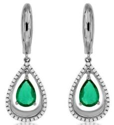 1.55ct Diamond And Aaa Emerald 14kt White Gold Pear Shape And Round Hanging Earrings
