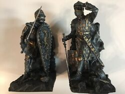 """Medieval Dragon Heraldry Knight Bookends Statues 8"""" Suit Of Armour"""