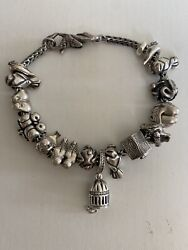 Authentic Trollbeads Bracelet With 14 Bird Branded Beads And One Unbranded