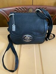 Black Peppled Leather Crossbody Coach Purse Silver Hardware and Tag $64.99