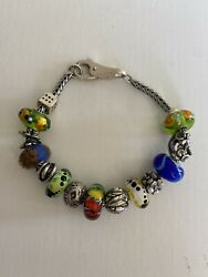 Authentic Trollbeads Bracelet With Genuine Silver And Glass Beads.