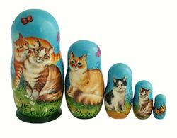 Russian Nesting Dolls Stacking Emboîtables - The Cats Painted At Hand By