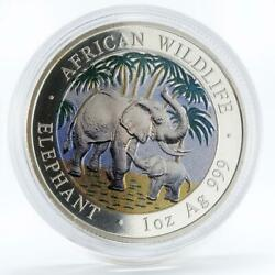 Somali 100 Shillings African Wildlife Series Elephant Colored Silver Coin 2007