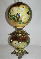 Rare Large Antique Gone With The Wind Oil Lamp With Roses- 12 Shade Gwtw Lamp