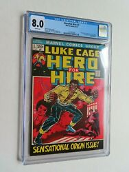 Hero For Hire 1972 1 Cgc 8.0 Vf 1st Appearance Of Luke Cage And Diamondback