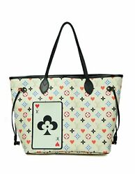 Authentic Louis Vuitton White Monogram Game On Neverfull Mm Tote Bag