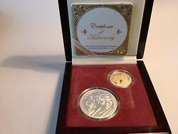 - 2 Coins - Gold And Silver - 60 Years On Indian Independence - Rare
