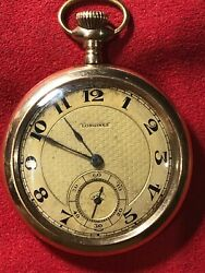Antique Longines Cal. 18.79 Cb Pocket Watch Open Face Gold Filled Running C.1914