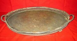 1800 Vintage Collectible Hand Engraved Design Silver Plated Copper Tray / Plate