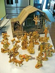 Vintage 1983/1997 Fontanini 26 Piece Nativity Set With Creche And Straw Pad - 5
