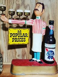 Pabst Blue Ribbon 196os Bartender With Beer On Arm Advertisement Sign Mug Beer