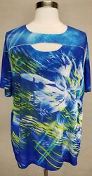 Catherines Blue Floral Print Embellished Short Sleeve Knit Top Plus Sz 4x 30/32w