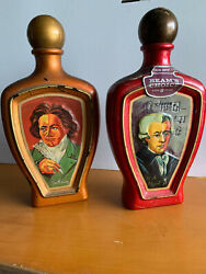 Lot Of 2 Vintage Jim Beam Choice Whiskey Decanter Bottles Beethoven And Mozart