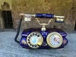 Vintage Porcelain Blue Telephone With Clock Massive Table Retro Rotary Phone