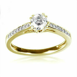 Diamond Solitaire Accented Ring Anniversary 1 Carat 14k Yellow Gold Round Shape