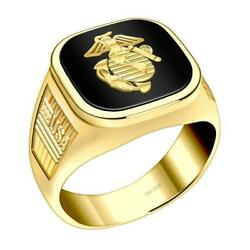 Us Jewels Menand039s 14k Yellow Gold Us Marine Corps Military Solid Back Ring