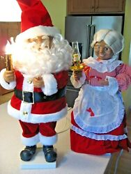 Vtg Motion-ettes African American Santa And Mrs. Claus Christmas Animated Lighted