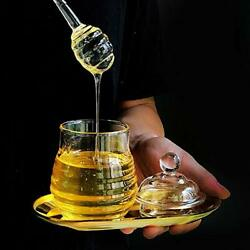 10 Oz Transparent Honey Jar With Dipper And Lid Glass Beehive Style Honey Pot