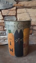 Autumn Greetings Hand Painted Large Vintage Maple Syrup Bucket Fall Décor New