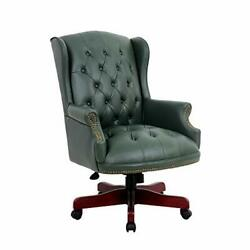 Executive Office Swivel Chair Height Adjustable Reclining Olive Green