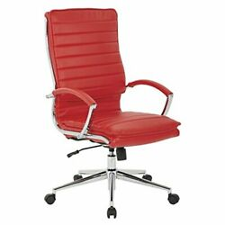 Faux Leather High Back Managers Chair With Loop Arms And Red High Back Chair
