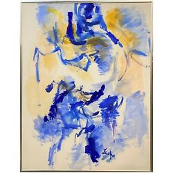 Abstract Oil Painting In Blues And Yellows Illegibly Signed Circa 1970andrsquos