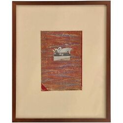 Varujan Boghosian Abstract Expressionist Collage Swan And Book Fragment