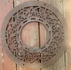 Antique Victorian Cast Iron Round Wall Ceiling Register Grill Cover