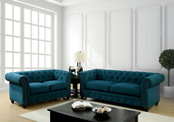 Living Room Furniture 2pc Sofa Set Sofa And Loveseat Dark Teal Family Plush Couch