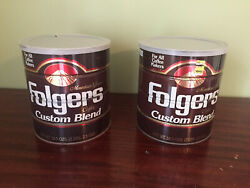 2 Vintage Brown Folgers Coffee Tin Cans With Lids Read Description