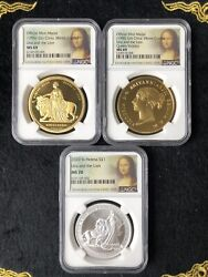 Set Of 3 Great Britain Una And The Lion Silver Coin 1oz Ngc Ms70 And Copper Medal