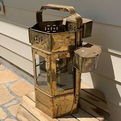 Large Antique Nautical Ship Lantern + 3 Hanging Compartments Brass And Copper 28h