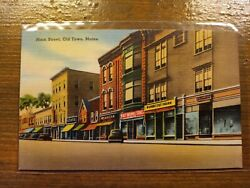 Main Street Old Town Maine Antique Postcard